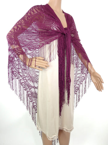 Beautiful Large Genuine 70s Burgundy/Wine Colour Lacey Shawl/Wrap