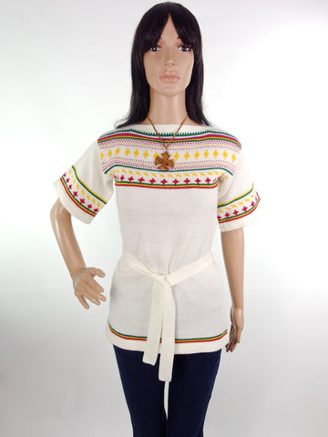 70s Kimono Sleeve Slashed Neck Tribal Knit Hippie Top In Size XS-S