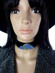 HUZZAR DESIGN 70s Style Beautiful Moon, Star And Cloud Suede Choker In Periwinkle And Silver