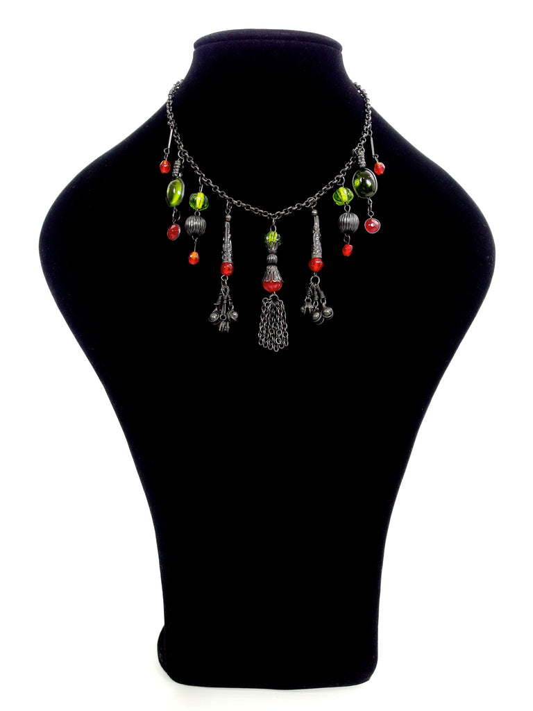 Beautiful Vintage Ethnic Glass Bead Drop Choker Necklace