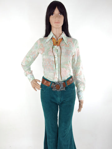 Cute 70s Novelty Print Blouse With Dagger Collar In Size XS