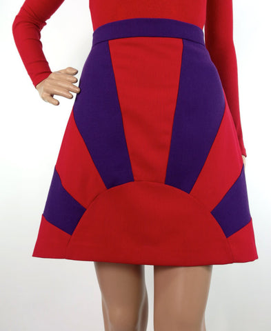 HUZZAR DESIGN Sunray Sample Mini Skirt In Red And Purple Crepe