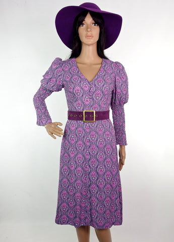 Gorgeous 60s Psychedelic Paisley Biba Style Midi Dress In Soft Crepe
