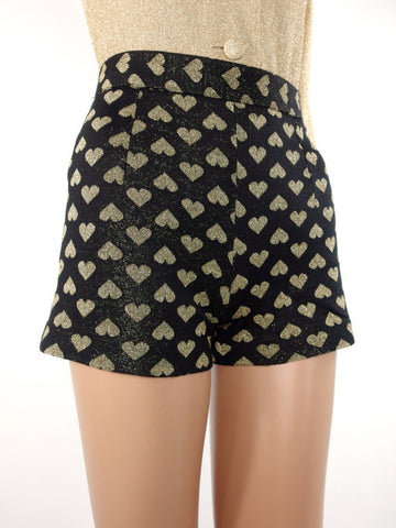 HUZZAR DESIGN Heart Print Hotpants In Size XXS