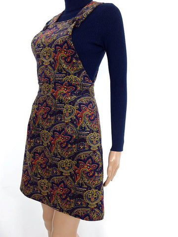 HUZZAR DESIGN 60s Style Paisley Corduroy Dungaree Mini Pinafore Dress In XS