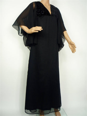 70s Floor- length Gothic Deco / Vionnet style dress by Quad
