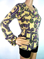 70s Bold Graphic Blouse With Tie Detail