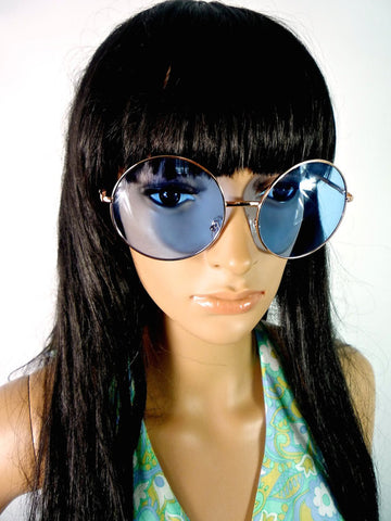 60s Style Round Oversized Sunglasses With Blue Lenses