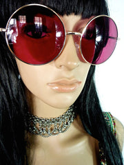 60s Style Round Oversized Sunglasses With Pink Lenses