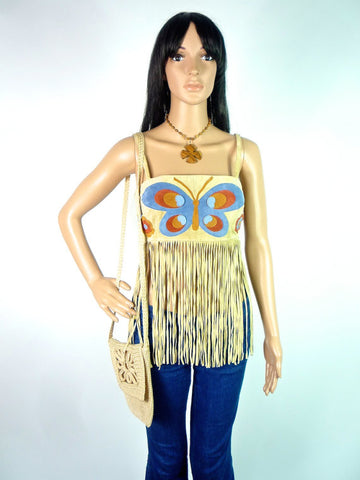 HUZZAR DESIGN Beautiful Suede Tassel Top With Applique Motif