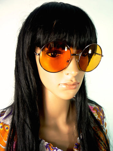 60s Style Round Oversized Sunglasses With Amber Lenses