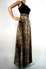 70s Glam Tiger Print Maxi Skirt