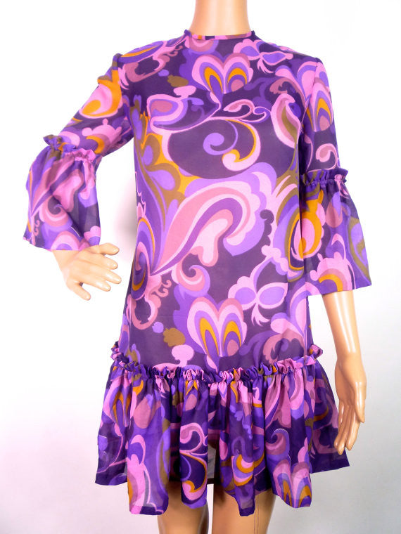 Super Psychedelic Print Mini Dress With Fan Sleeves
