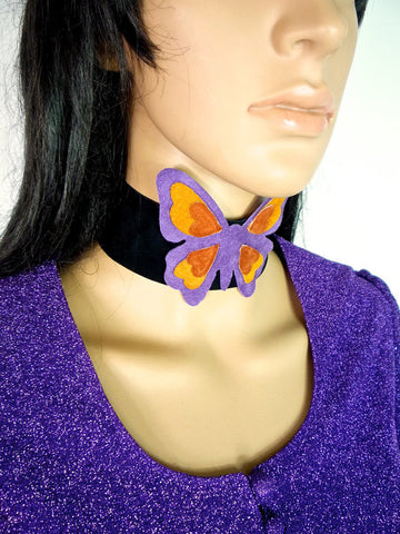 HUZZAR DESIGN Beautiful Butterfly Suede choker