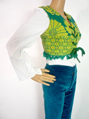 Vintage Indian Cropped Woven Waistcoat With Large Eyelet Detail