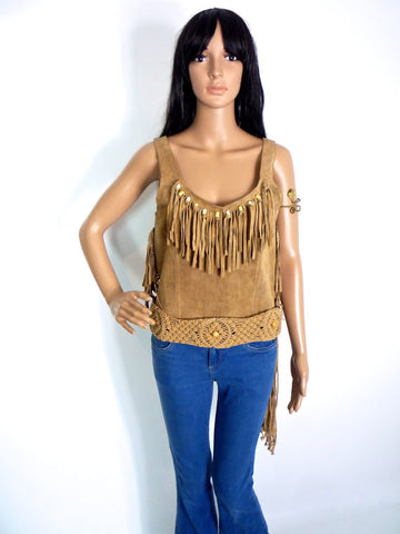 Beautiful Suede Cropped Top With Tassel And Bead Detail