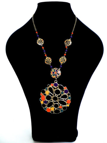 Colourful 70s Large Psychedelic Gold Tone Pendant With Enamel Detail