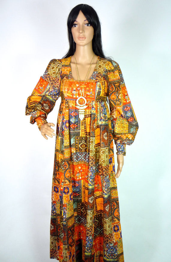 70s Ethnic Maxi Dress With Carpet Print