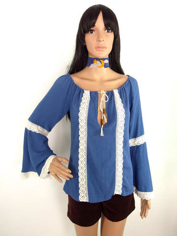 HUZZAR DESIGN Bell Sleeve Peasant Top In Cornflower Blue
