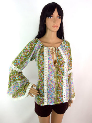 HUZZAR DESIGN Bell Sleeve Peasant Top In Meadow