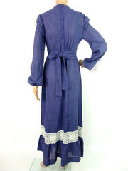 Beautiful 70s Maxi Prarie Cheese Cloth Dress With Lace Panel Detail