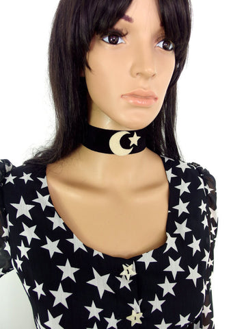 HUZZAR DESIGN Moon And Star Suede Choker