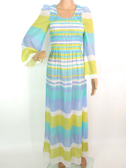 Lovely 70s Sheer Stripey Hippie Maxi Dress With Shirred Bodice And Flared Sleeves