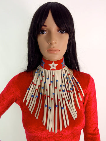 HUZZAR DESIGN Suede Tassel Stars And Stripes Choker