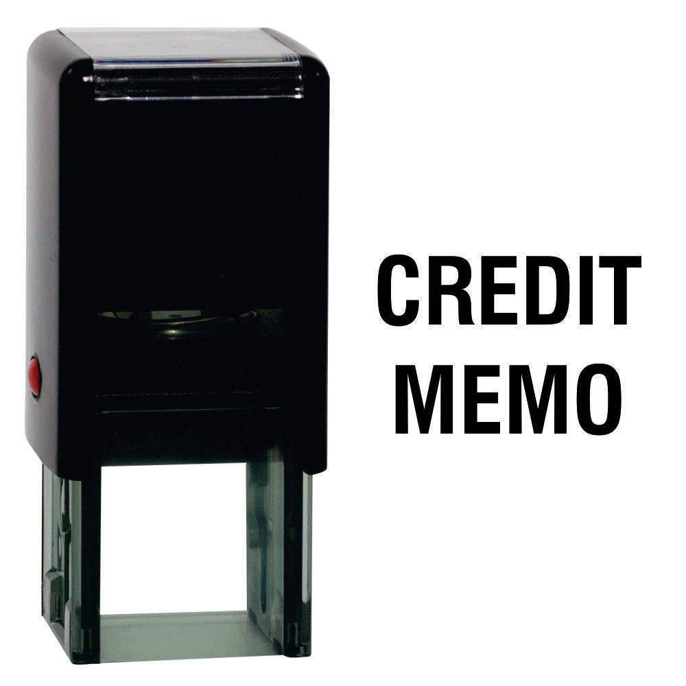 Black Square Credit Memo Self Inking Rubber Stamp Size 1-5/8""
