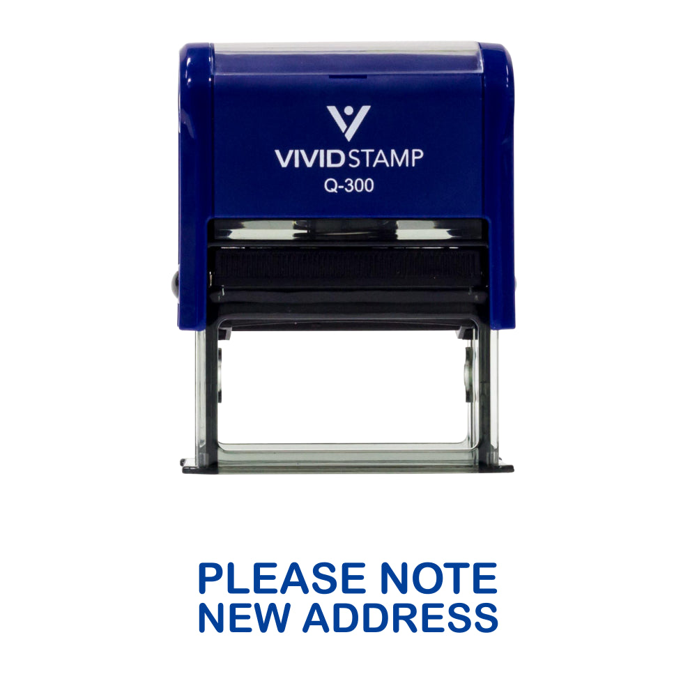 Blue PLEASE NOTE NEW ADDRESS Self Inking Rubber Stamp