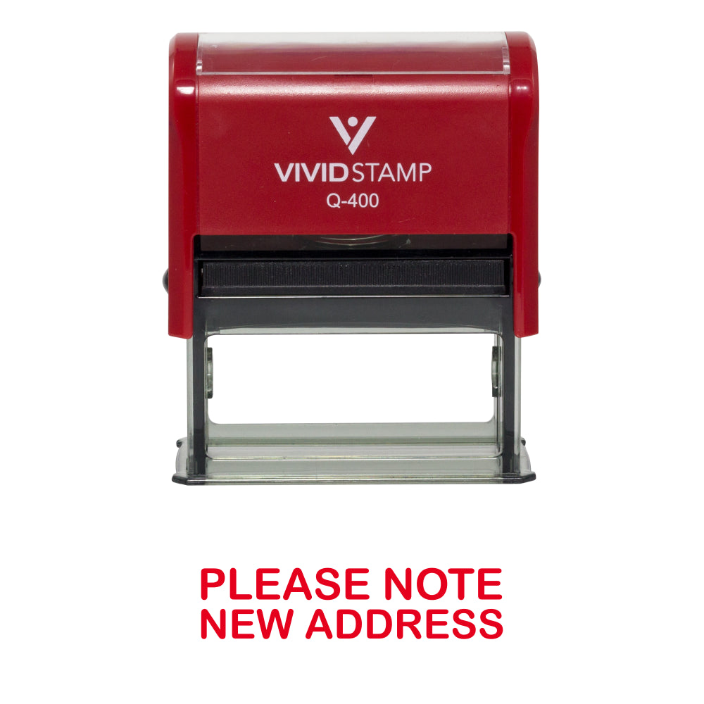 Red PLEASE NOTE NEW ADDRESS Self Inking Rubber Stamp