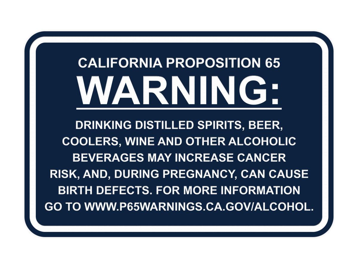 Signs ByLITA Classic Framed California Proposition 65 Sign Alcoholic Beverages