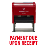 Red PAYMENT DUE UPON RECEIPT Self Inking Rubber Stamp