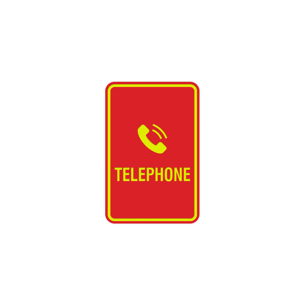 Portrait Round Telephone Sign With Adhesive Tape
