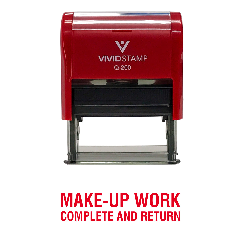 Red Make-Up Work Complete and Return Teacher Self Inking Rubber Stamp