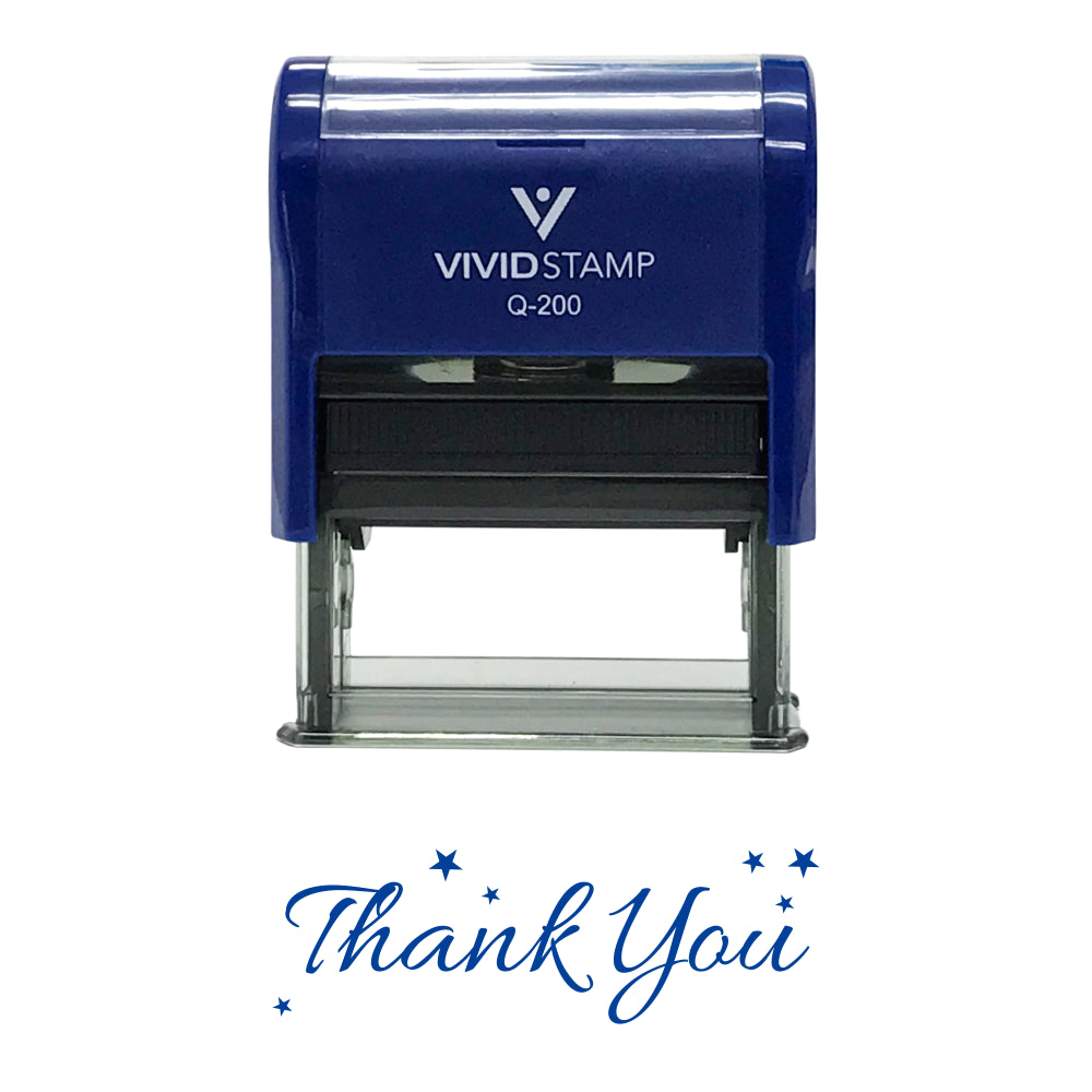Blue THANK YOU w/ Stars Self Inking Rubber Stamp