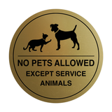 Signs ByLITA Circle No Pets Allowed Except Service Animals Sign