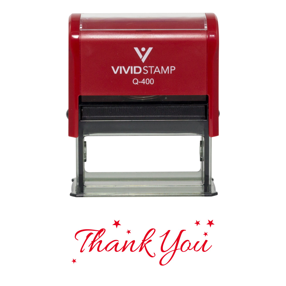 Red THANK YOU w/ Stars Self Inking Rubber Stamp
