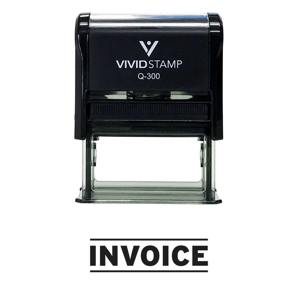 Black INVOICE Self Inking Rubber Stamp