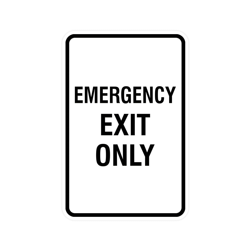 Portrait Round Emergency Exit Only Sign with Adhesive Tape, Mounts On Any Surface, Weather Resistant
