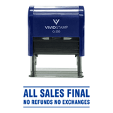 Blue All Sales Final No Refunds No Exchanges Self Inking Rubber Stamp