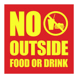 Square No Outside Food or Drink Wall / Door Sign
