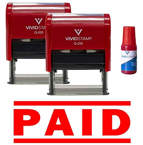 Paid Self Inking Rubber Stamp 2-Pack (Includes Red Ink Refill)