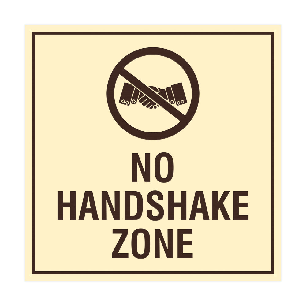 Signs ByLITA Square No Handshake Zone Sign