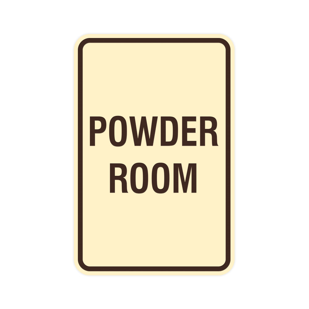 Signs ByLITA Portrait Round Powder Room Sign with Adhesive Tape, Mounts On Any Surface, Weather Resistant, Indoor/Outdoor Use