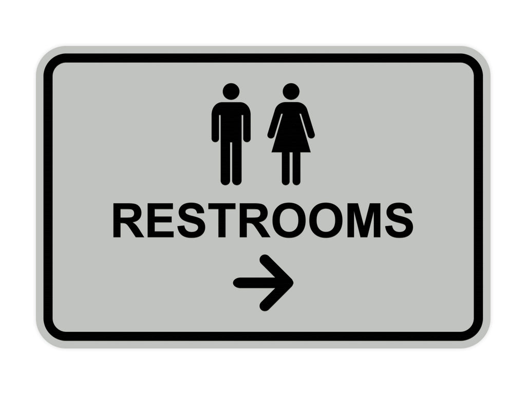Signs ByLITA Classic Framed Restrooms Right Arrow Sign