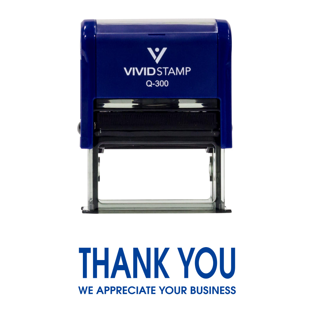 Blue Thank You We Appreciate Your Business Self Inking Rubber Stamp