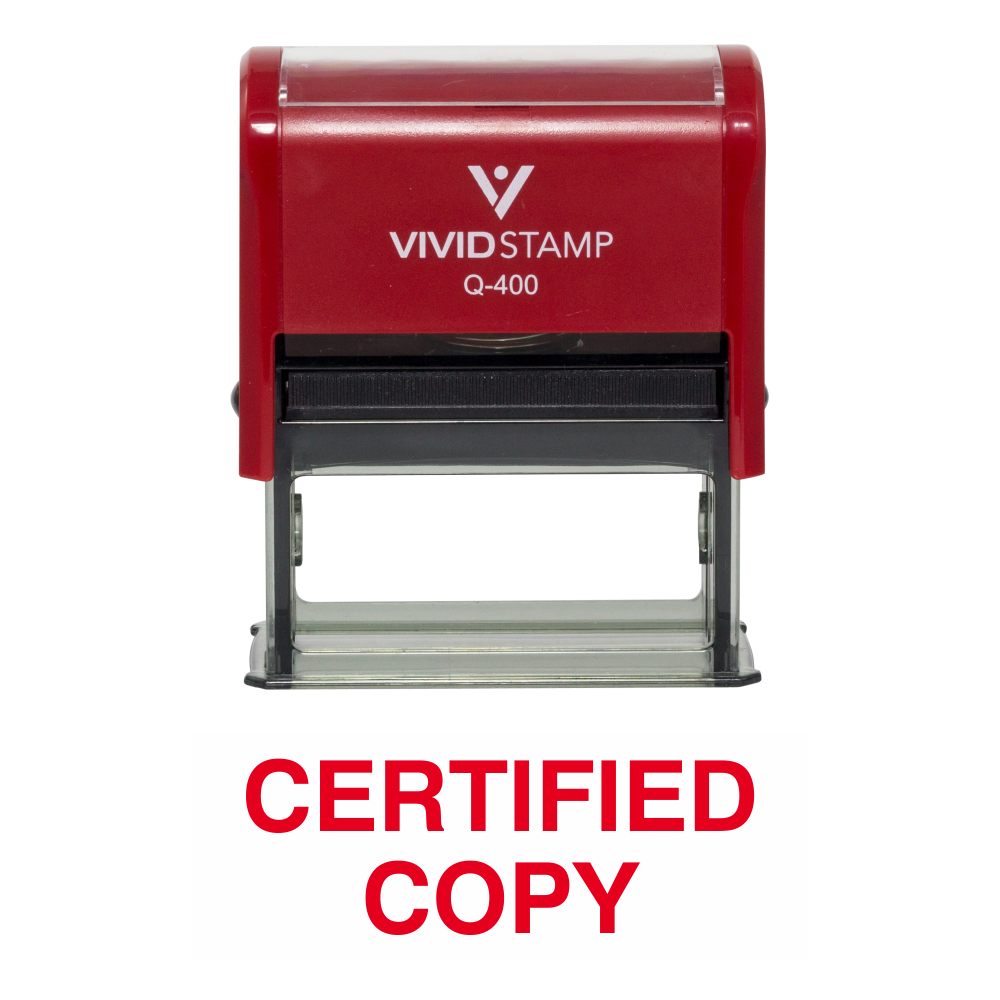 Red CERTIFIED COPY Self Inking Rubber Stamp