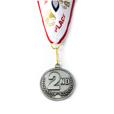 2nd Place High Relief Silver Medal Award - Includes Ribbon