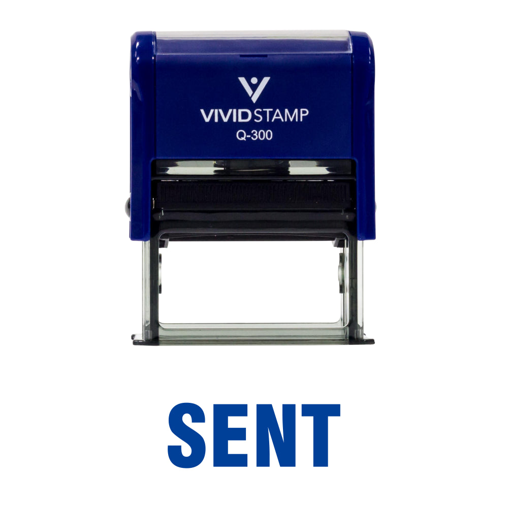 Blue SENT Self Inking Rubber Stamp